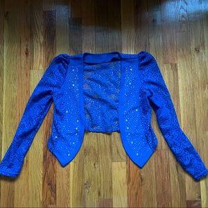 NWOT Blue lace cardigan with rhinestones